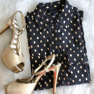 Whowhatwear • Black Button Down w/ Gold Polka Dots